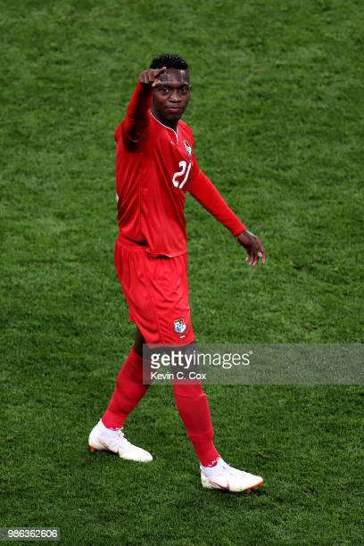 Jose Luis Rodriguez of Panama celebrates his team's first goal, an own goal by Yassine Meriah of Tunisia, during the 2018 FIFA World Cup Russia group...
