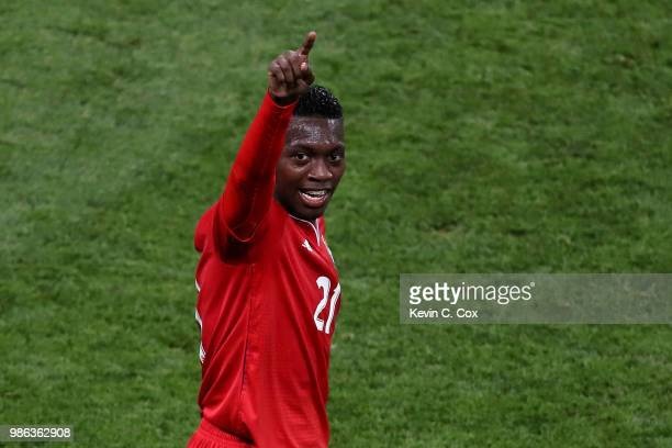 Jose Luis Rodriguez of Panama celebrates his team's first goal an own goal by Yassine Meriah of Tunisia during the 2018 FIFA World Cup Russia group G...