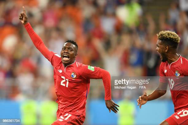 Jose Luis Rodriguez of Panama celebrates with teammate Ricardo Avila after scoring his team's first goal during the 2018 FIFA World Cup Russia group...
