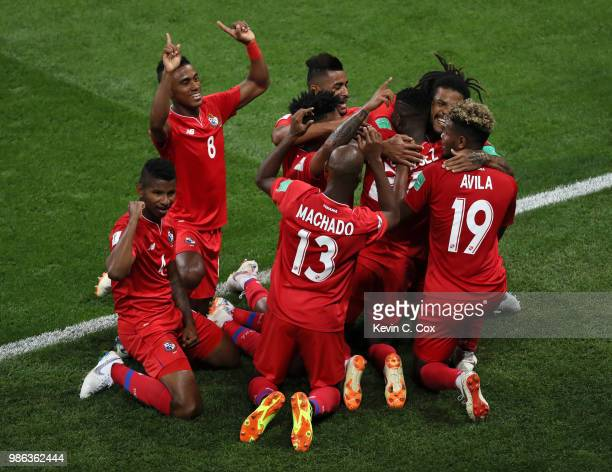 Jose Luis Rodriguez of Panama celebrates with teammates his team's first goal an own goal by Yassine Meriah of Tunisia during the 2018 FIFA World Cup...