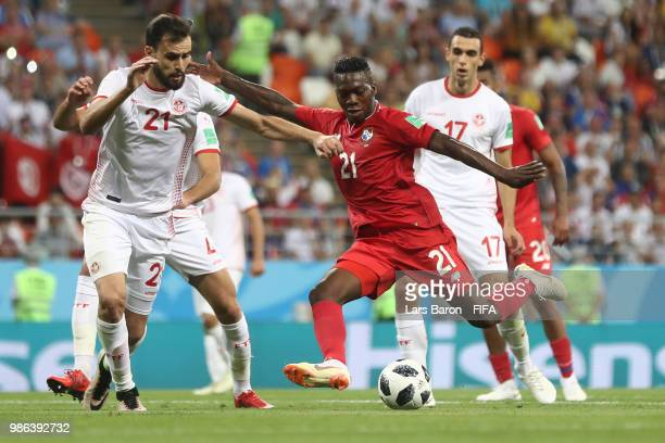 Jose Luis Rodriguez of Panama challenge for the ball with Hamdi Naguez of Tunisia during the 2018 FIFA World Cup Russia group G match between Panama...