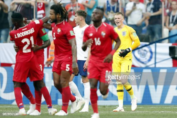 Jose Luis Rodriguez of Panama Felipe Baloy of Panama Roman Torres of Panama John Stones of England Abdiel Arroyo of Panama goalkeeper Jorden Pickford...