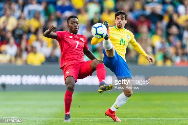 Jose Luis Rodriguez of Panama trips up with Fagner Lemos of Brazil during the International Friendly Match between Brazil and Panama at Estadio do...