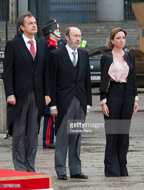 Jose Luis Rodriguez Zapatero Alfredo Perez Rubalcaba and Carme Chacon attend the Pascua Military ceremony at Royal Palace on January 6 2011 in Madrid...