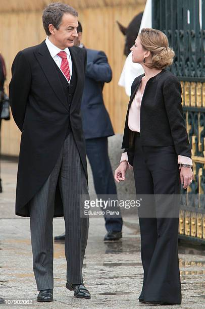 Jose Luis Rodriguez Zapatero and Carme Chacon attend the Pascua Military ceremony at Royal Palace on January 6 2011 in Madrid Spain