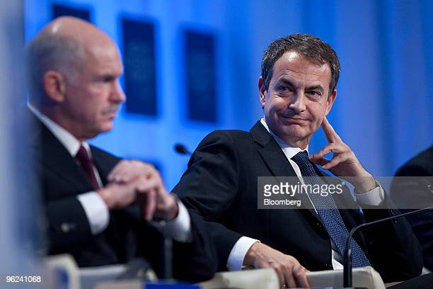 Jose Luis Rodriguez Zapatero prime minister of Spain right and George A Papandreou prime minister of Greece participate in a panel discussion titled...