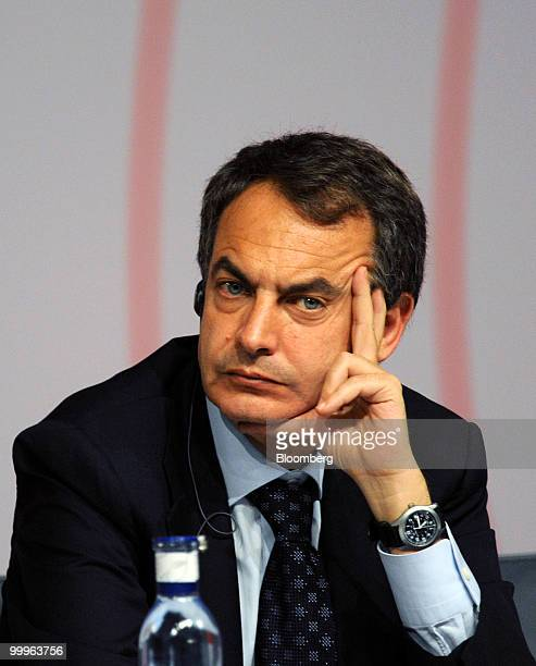 Jose Luis Rodriguez Zapatero Spain's prime minister listens during the closing ceremony of the European UnionLatin American summit in Madrid Spain on...