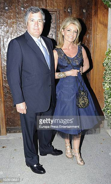 Jose Luis Santos and Cristina Yanes attend the christening of Paloma Segrelles and Emilio Alvarez's daughters Paloma and Tiziana on June 28 2010 in...