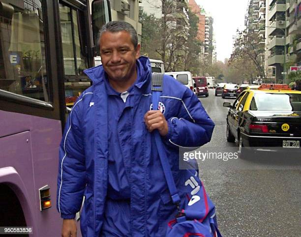 Jose Luis Trejo head coach of Mexico's Cruz Azul prepares to get in the bus that will take his team to their training session at a private club in...