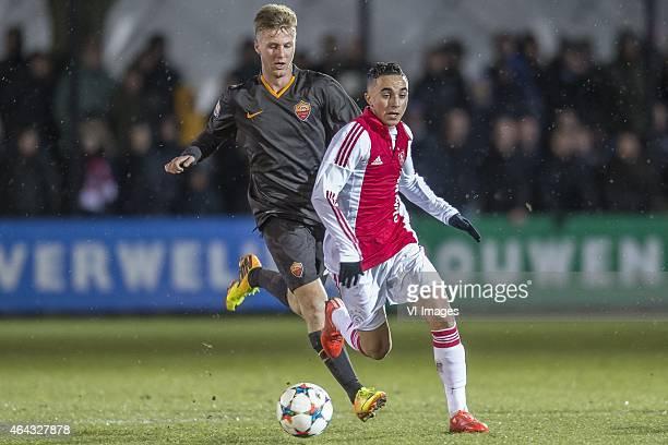 Jose Machin Dicombo of AS Roma Abdelhak Nouri of Ajax during the 1/8 final Europa Youth League match between Ajax U19 and AS Roma U19 on February 24...