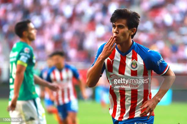 Jose Macias of Chivas celebrates after scoring the first goal of his team during the 8th round match between Toluca and Monterrey as part of the...