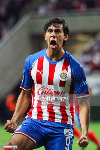 Jose Macias of Chivas celebrates after scoring the second goal of his team during the 1st round match between Chivas and FC Juarez as part of the...