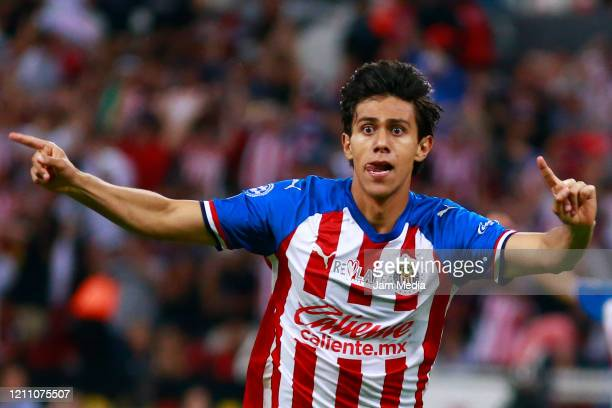 Jose Macias of Chivas celebrates after scoring the second goal of his team during the 9th round match between Atlas and Chivas as part of the Torneo...