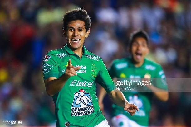 Jose Macias of Leon celebrates after scoring the first goal of his team during the semifinals first leg match between America and Leon as part of the...