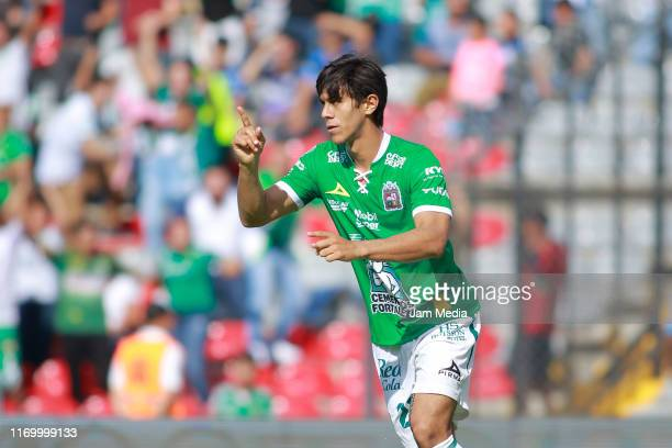 Jose Macias of Leon celebrates after scoring the first goal of his team during the 6th round match between Queretaro and Leon as part of the Torneo...