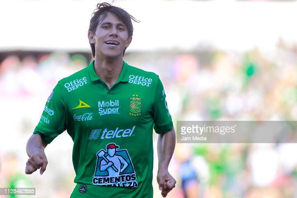Jose Macias of Leon celebrates after scoring the second goal of his team during the 4th round match between Queretaro and Leon as part of the Torneo...