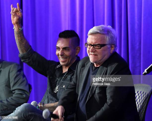 Jose Mangin and Andy Gould speak onstage at Reel To Reel: Long Live Rock…Celebrating The Chaos at the GRAMMY Museum on February 05, 2020 in Los...