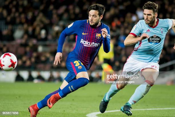 Jose Manuel Arnaiz Diaz 0 of FC Barcelona fights for the ball with Sergi Gomez Sola of RC Celta de Vigo during the Copa Del Rey 201718 Round of 16...