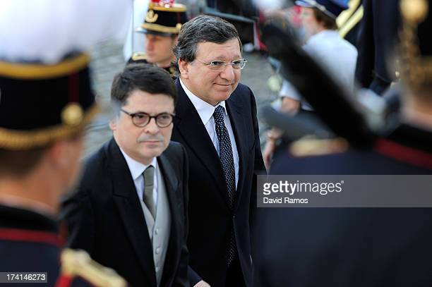 Jose Manuel Barroso is seen in front of the Cathedral of St Michael and Saint Gudula prior to the Abdication Of King Albert II Of Belgium...