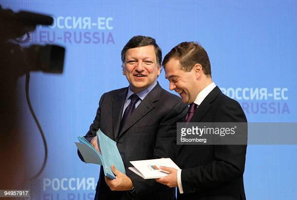 Jose Manuel Barroso president of the European Commission left leaves the stage with Dmitry Medvedev Russia's president after a joint press conference...