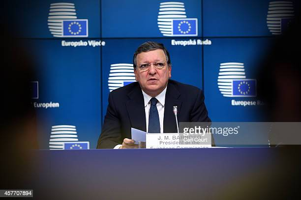 Jose Manuel Barroso, the outgoing European Commission President, speaks during a press conference at the beginning of a two-day European Council...
