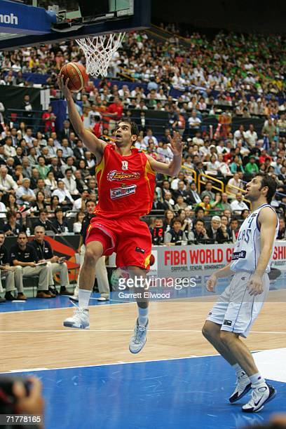 Jose Manuel Calderon of Spain goes to the basket against Greece during the 2006 FIBA World Championship Final Round on September 3 2006 at the...