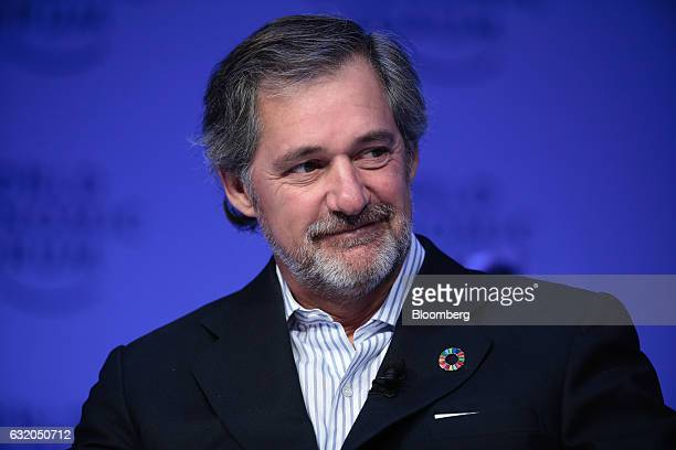 Jose Manuel Entrecanales chief executive officer of Acciona SA looks on during a panel session at the World Economic Forum in Davos Switzerland on...