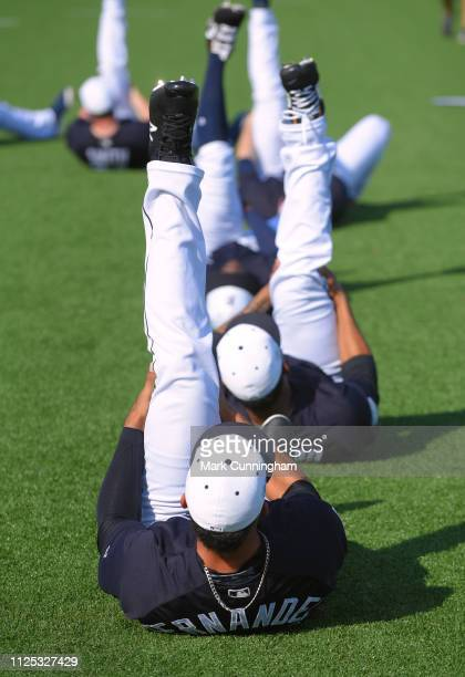 Jose Manuel Fernandez of the Detroit Tigers and teammates stretch during Spring Training workouts at the TigerTown Complex on February 16 2019 in...