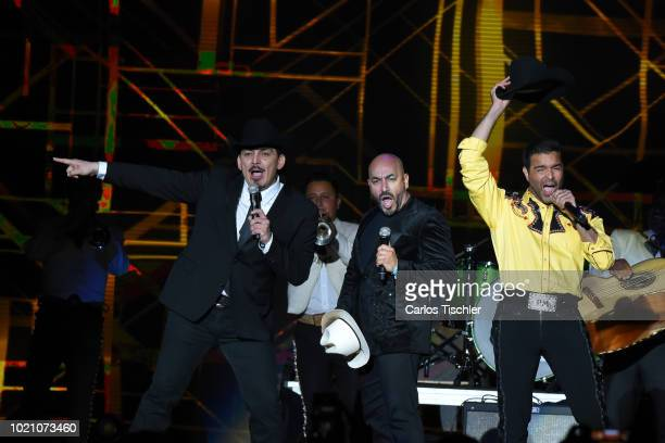 Jose Manuel Figueroa Lupillo Rivera and Pablo Montero of The Rebeldes band performs on stage during Billboard Latin Music Showcase at Palacio de Los...