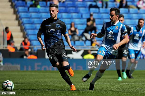 Jose Manuel Jurado and Burgui during the match between RCD Espanyol and Depoortivo Alaves for the round 30 of the Liga Santander played at the RCD...