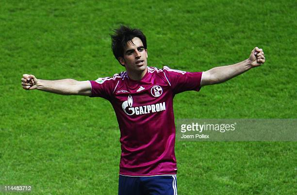 Jose Manuel Jurado Marin of Schalke celebrates after scoring his team's fourth goal during the DFB Cup final match between MSV Duisburg and FC...