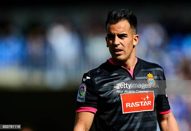 Jose Manuel Jurado of RCD Espanyol looks on during La Liga match between Malaga CF and RCD Espanyol at La Rosaleda Stadium February 04 2017 in Malaga...