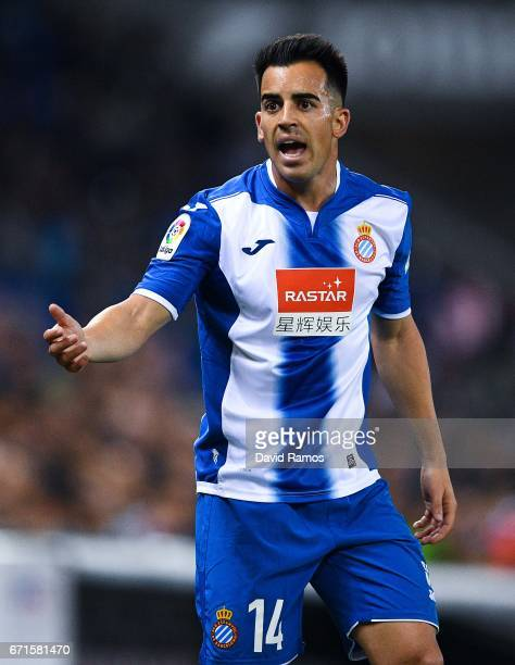 Jose Manuel Jurado of RCD Espanyol reacts during the La Liga match between RCD Espanyol and Club Atletico de Madrid at the Cornella El Prat stadium...