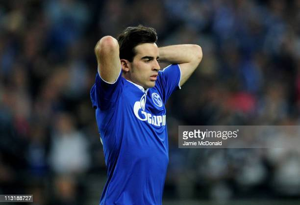 Jose Manuel Jurado of Schalke looks dejected during the UEFA Champions League Semi Final first leg match between FC Schalke 04 and Manchester United...