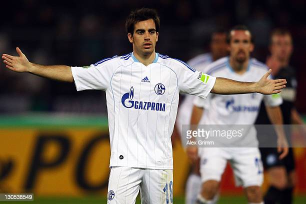 Jose Manuel Jurado of Schalke reacts during the DFB Cup second round match between Karlsruher SC and FC Schalke 04 at Wildpark Stadium on October 26...