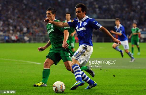 Jose Manuel Jurado of Schalke scores his teams third goal during the UEFA Europa League group J match between FC Schalke 04 and Maccabi Haifa FC at...