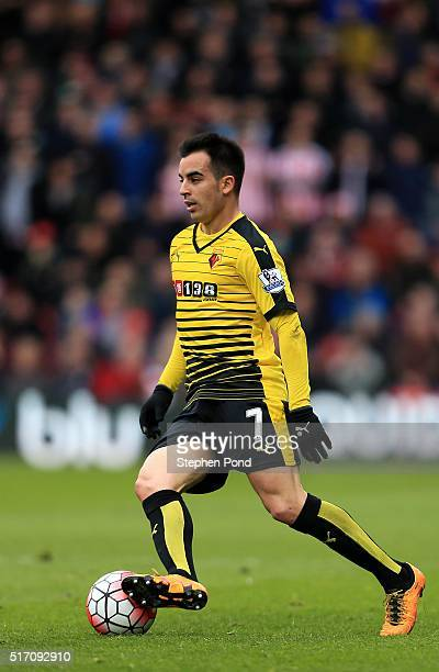 Jose Manuel Jurado of Watford during the Barclays Premier League match between Watford and Stoke City at Vicarage Road on March 19 2016 in Watford...