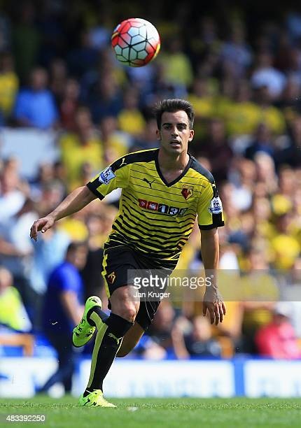 Jose Manuel Jurado of Watford in action during the Barclays Premier League match between Everton and Watford at Goodison Park on August 8 2015 in...