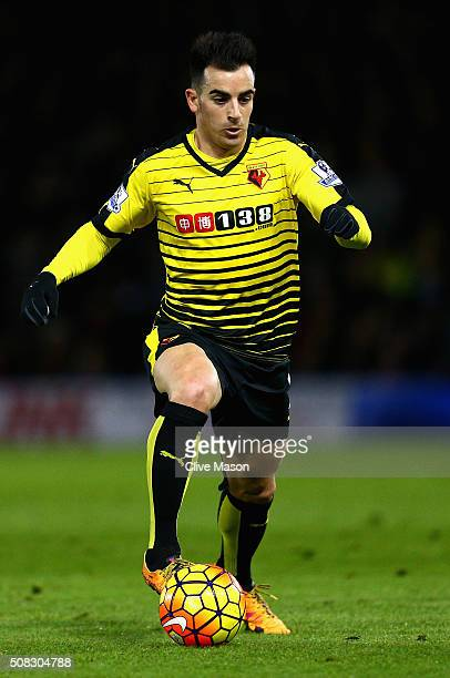 Jose Manuel Jurado of Watford in action during the Barclays Premier League match between Watford and Chelsea at Vicarage Road on February 3 2016 in...