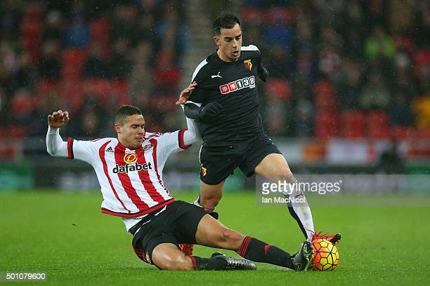 Jose Manuel Jurado of Watford is tackled by Jack Rodwell of Sunderland during the Barclays Premier League match between Sunderland and Watford at the...