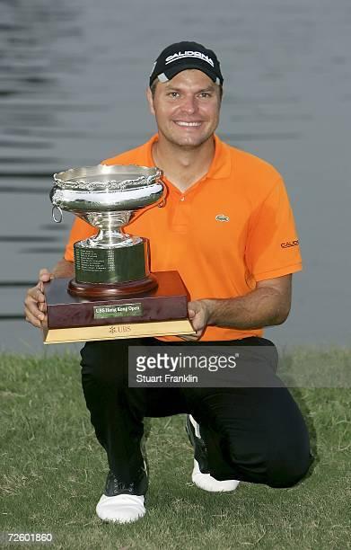 Jose Manuel Lara of Spain with the trophy for winning the UBS Hong Kong Open at the Hong Kong Golf Club on November 19 2006 in Fanling Hong Kong