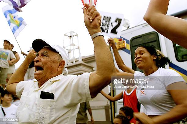 Jose Manuel Monell Celebrates The Landslide Victory For The Number Two Option In A Non Binding Referendum Over The Future Of Navy Bombing Exercises...