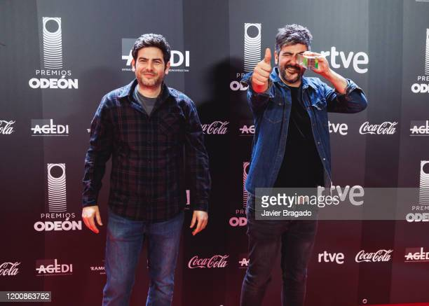 Jose Manuel Muñoz and David Muñoz from the band Estopa winners of The Best Band award pose in the trophy room during the 1st Odeon Awards at Teatro...