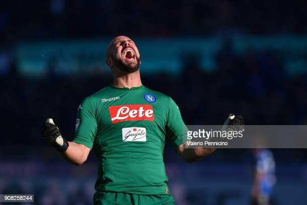 Jose Manuel Reina of SSC Napoli celebrates after his teammate Dries Mertens scored the opening goal during the serie A match between Atalanta BC and...