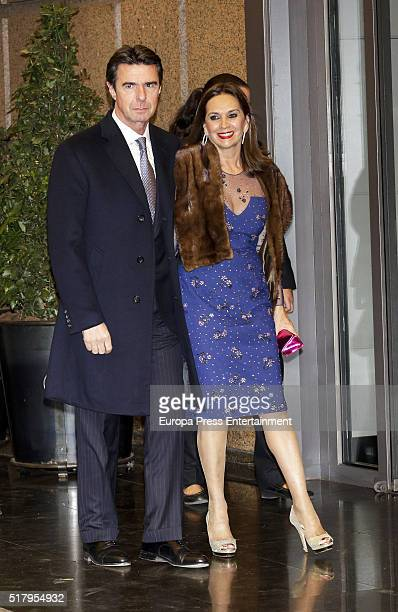 Jose Manuel Soria and Carmen Benitez attend the Mario Vargas Llosa 80th birthday party on March 28 2016 in Madrid Spain