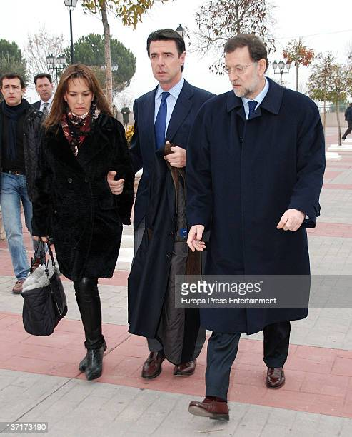 Jose Manuel Soria and Mariano Rajoy attend the funeral chapel for Ramon Rato at Tres Cantos Chapel on January 15 2012 in Madrid Spain Ramon Rato is...