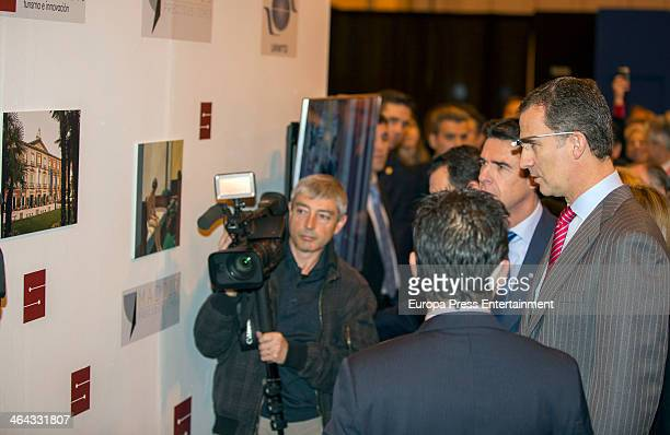 Jose Manuel Soria and Prince Felipe of Spain attend 'FITUR' International Tourism Fair on January 22 2014 in Madrid Spain