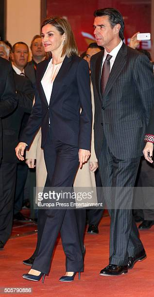 Jose Manuel Soria and Queen Letizia of Spain attend FITUR International Tourism Fair opening at Ifema on January 20 2016 in Madrid Spain