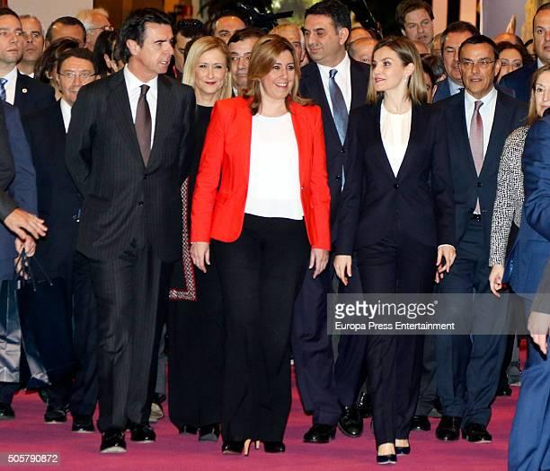 Jose Manuel Soria Susana Diaz and Queen Letizia of Spain attend FITUR International Tourism Fair opening at Ifema on January 20 2016 in Madrid Spain