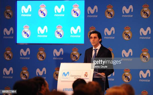 Jose Maria AlvarezPallete Telefonica SA Chairman and CEO announces a new sponsorship agreement with Real Madrid at Estadio Santiago Bernabeu on March...